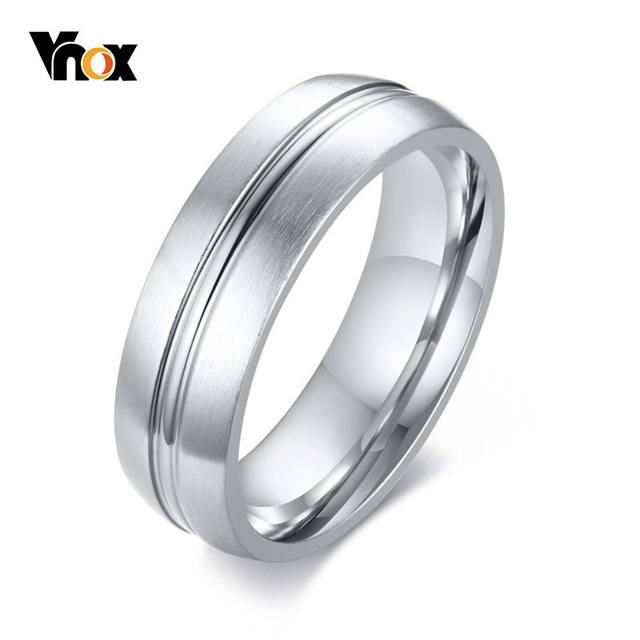 Vnox Clasic Simple Ring for Men 6mm Stainless Steel Wedding Band Thin Lined Alliance Casual Male Gentlemen Anel Anniversary Gift