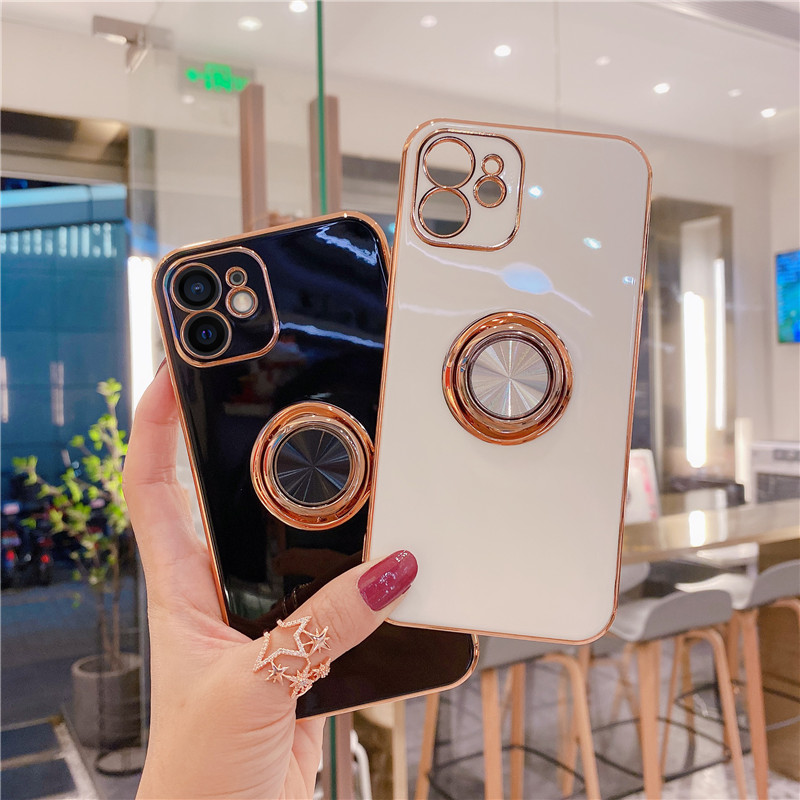 Luxury Magnetic Ring Holder Stand Case For iPhone 12 Mini 11 Pro Max XS XR X 7 8 Plus SE 2020 Electroplated Silicone Soft Cover