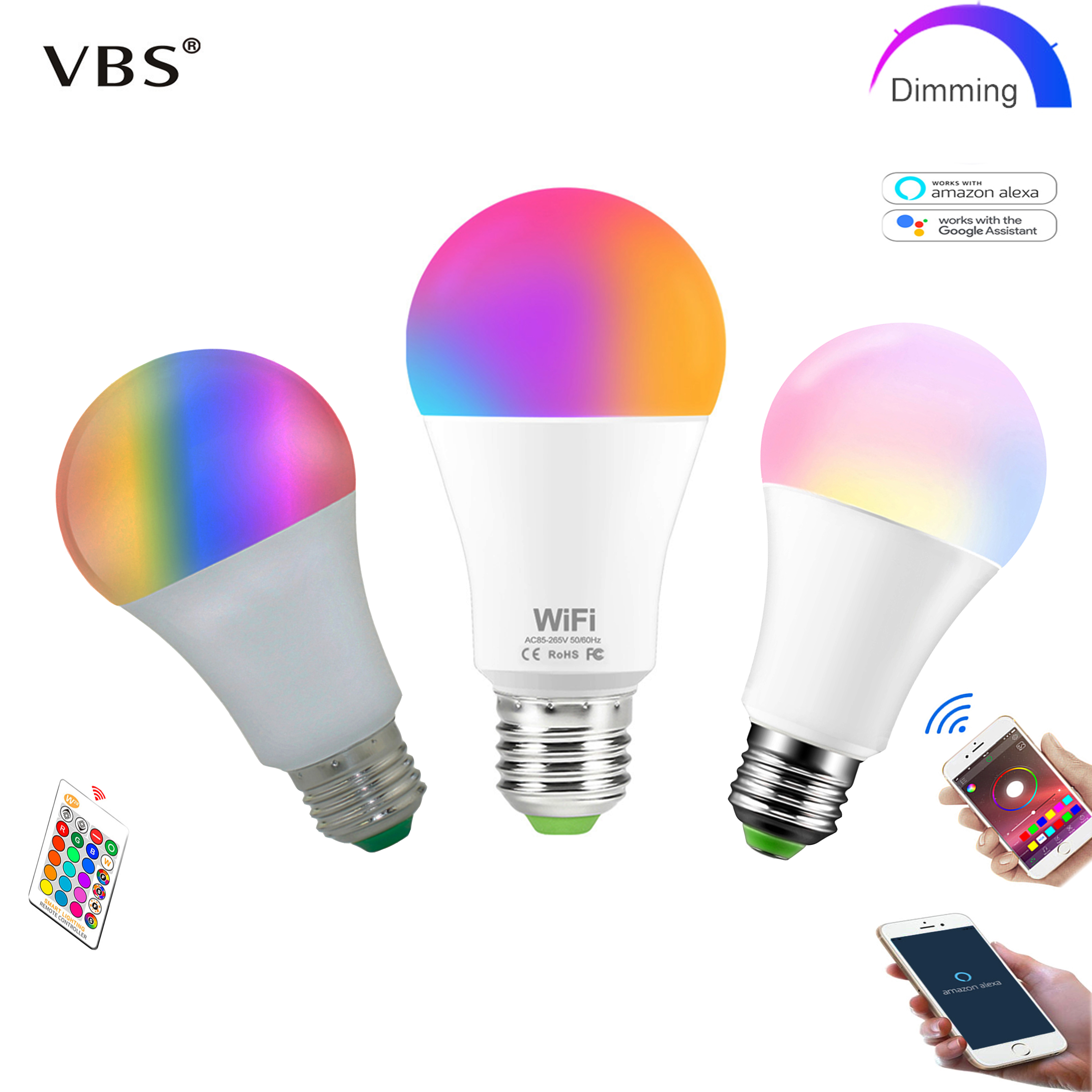 Dimmable E27 LED Lamp RGB 15W WIFI Smart Bulb Bluetooth  APP Control 5W 10W IR Remote Control RGBWW Light Bulb 85-265V For Home