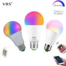 Pode ser escurecido e27 lâmpada led rgb 15w wifi inteligente bulbo bluetooth app controle 5w 10w ir controle remoto colore lâmpada 85-265v para casa