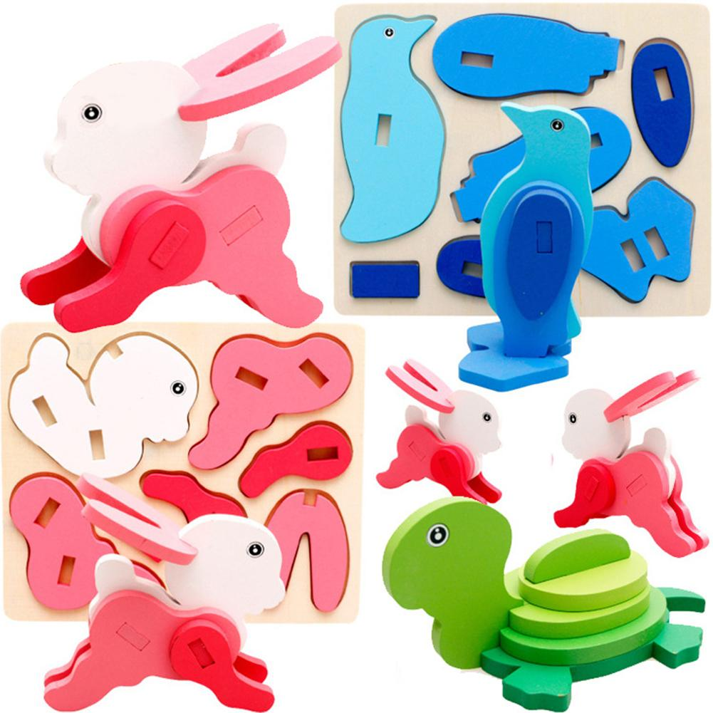 3D Animal Puzzles DIY Building Construction Handmade Craft Kids Educational Toys For Children Gift