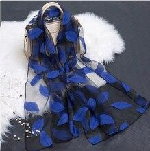 YLWHJJ hot sale silk scarf womens summer breeze lightweight sheer wrap and shawls bandana beach organza gauze lace hollow scarf(China)