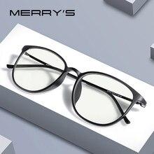 MERRYS – lunettes Anti-lumière bleue pour hommes et femmes, TR90, verres de Protection d'écran, rétro ovale, branches en titane pur s2501 flg