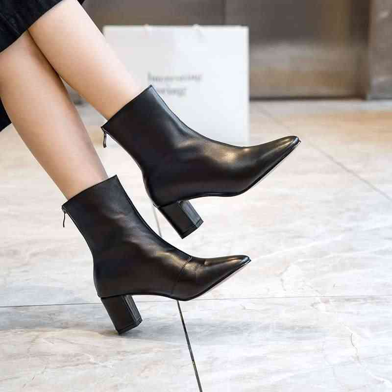 Krazing pot hakiki deri yuvarlak ayak yüksek topuklu fermuar yarım çizmeler tatlı şeker kız yüksek sokak moda çıplak Chelsea çizmeler L35