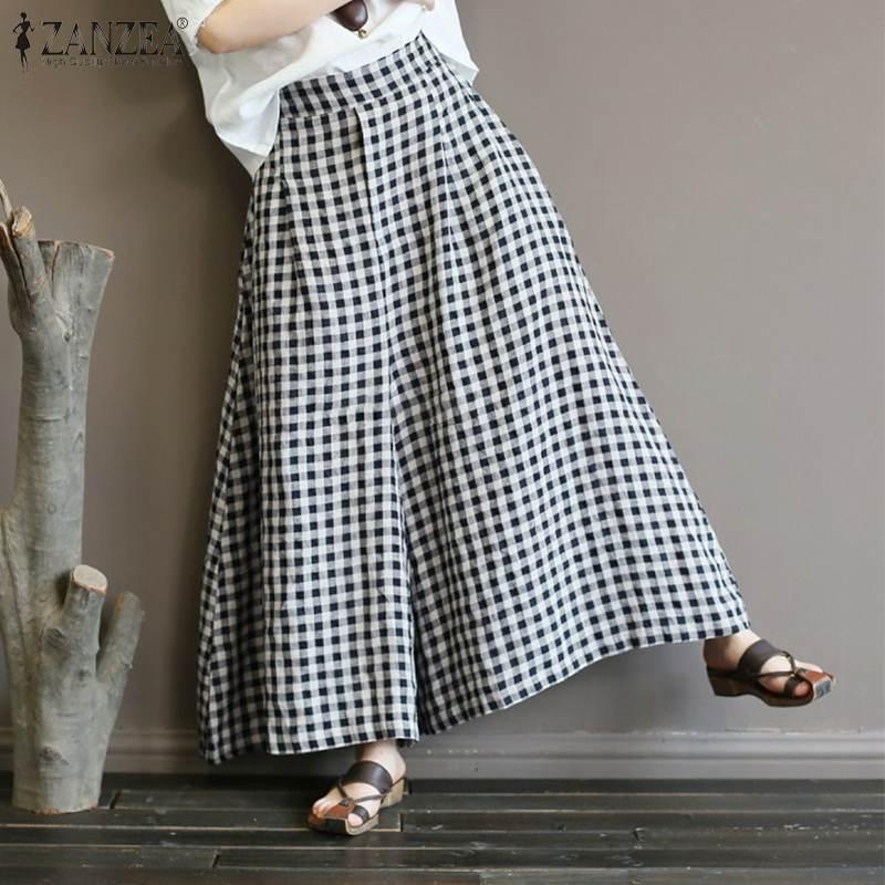2020 Summer Check   Wide     Leg     Pants   ZANZEA Vintage Work Long Trousers Women Elastic Waist Plaid Harem Pantalon Female Flare Palazzo