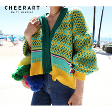 Cheerart Thick Cardigan Women Colorful Winter Knitted Sweater V Neck Color Block Korean Fashion 2019 Clothes