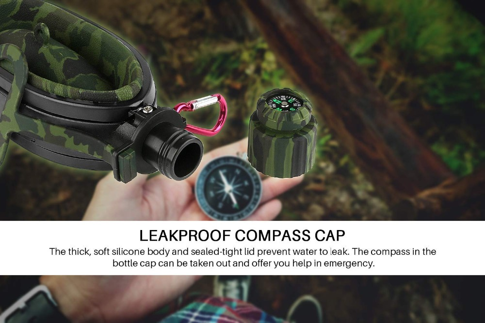 Collapsible Military Water Bottle Hiking Accessories Silicone Water Kettle Canteen with Compass Bottle Cap for Tourism Camping (7)