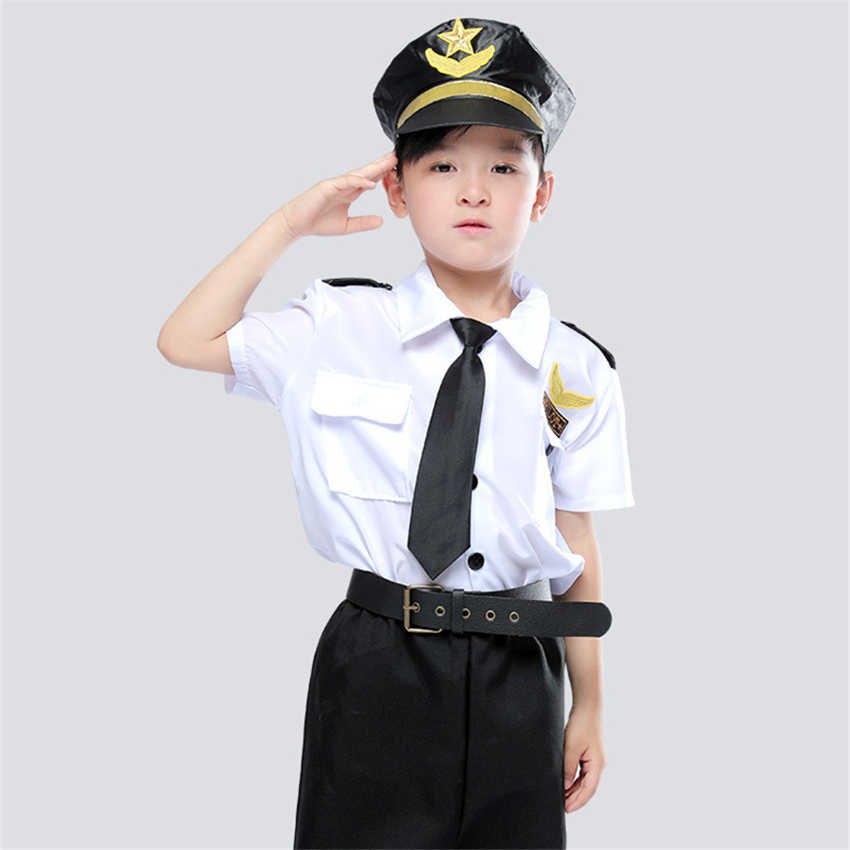 Kids Cosplay Aviation Flight Captain Uniform Halloween Costumes for Boys Party Carnival Pilot Air Force Steward Clothing
