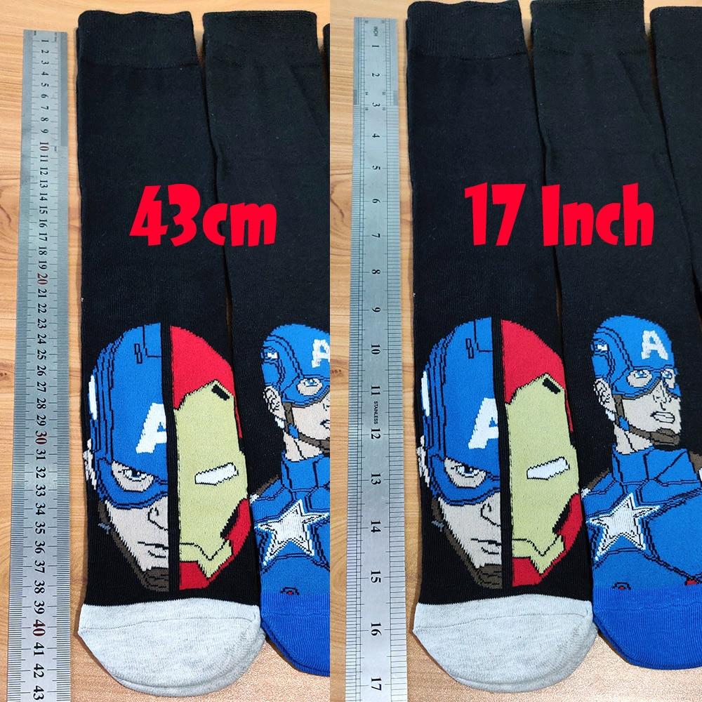 Image 4 - 10 Pairs/Pack Comics Hero General Socks cartoon Iron Man Captain America Knee High Warm Stitching pattern increase size Big SockMens Socks   -