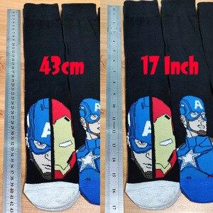 Image 4 - 10 Pairs/Pack Comics Hero General Socks cartoon Iron Man Captain America Knee High Warm Stitching pattern increase size Big Sock