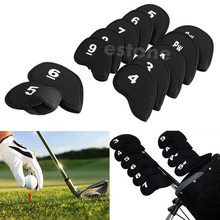 Hot Golf Head Cover Club Iron Putter Head Protector Set Neoprene Black 10pcs golf club putter head cover case yellow black 10 pack page 2
