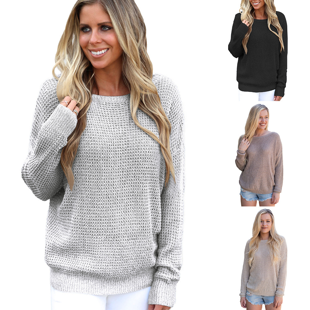Madam Clothing OWLPRINCESS Winter New Style Solid Color Round-neck Long-sleeved Pullover Double Purpose Knitted Sweater
