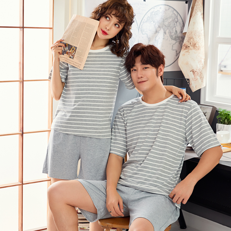 Pajamas     Sets   Couples Striped 100% Cotton Cartoon Fashion Men Short Sleeve Sleepwear Suit Women Sexy Summer Home Lounge Gift 4XL
