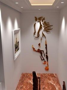 Mirror Wall-Stickers Background-Art Room-Decoration Horses Acrylic Living-Room Bathroom