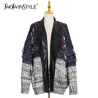 TWOTWINSTYLE Hit Color Patchwork Tassel Sweater For Women Lapel Long Sleeve Casual Loose Knitting Cardigans Female 2020 Autumn