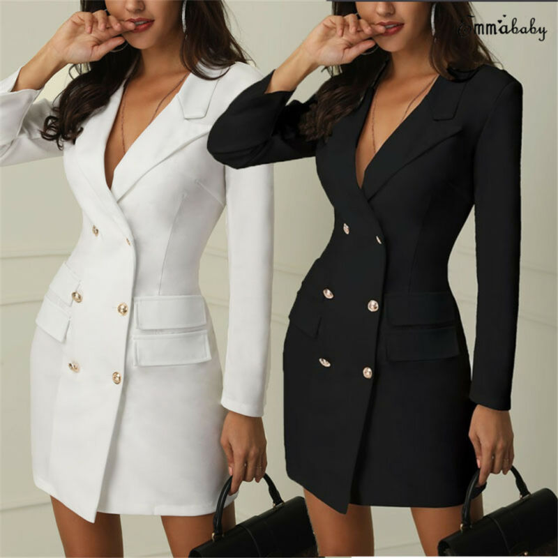 Women Blazer Dress Suit Slim Long Blazers Double Breasted Pockets Coat Elegant Office Lady Solid  Autumn Formal Outerwear Tops
