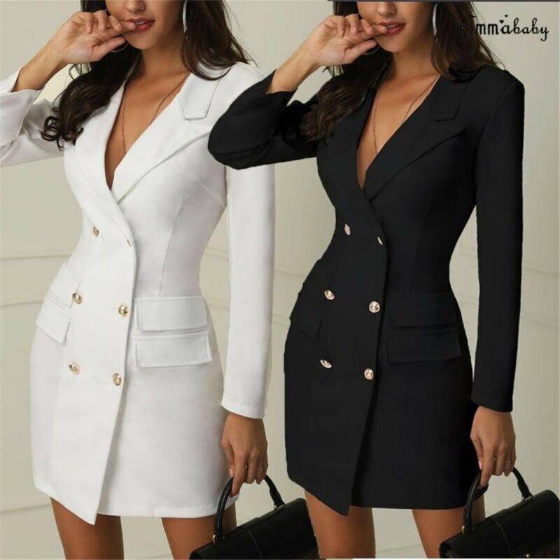 Women Blazer Dress Suit Slim Long Blazers Double Breasted Pockets Coat Elegant Office Lady Solid  Autumn Formal Outerwear Tops