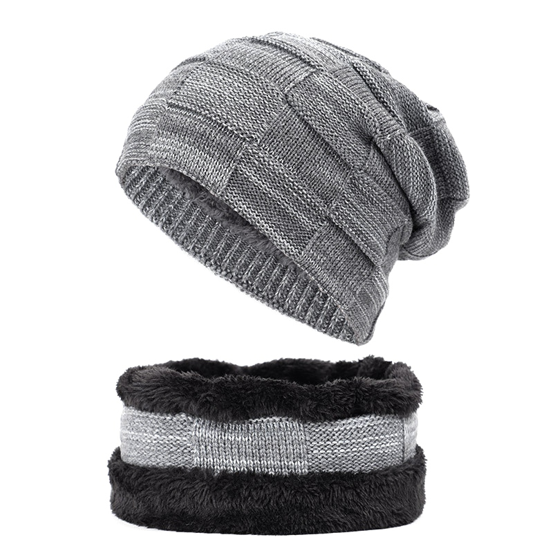 2-Pieces Beanie Scarf Set Warm Knit Hat Thick Fleece Lined Skull Cap And Scarf For Men Women Winter