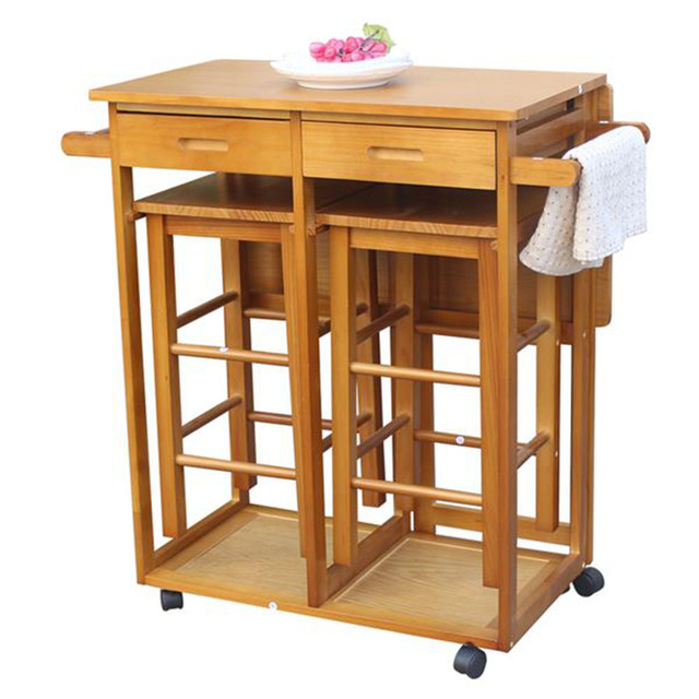Square Solid Wood Folding Dining Cart with 2 Stools  1