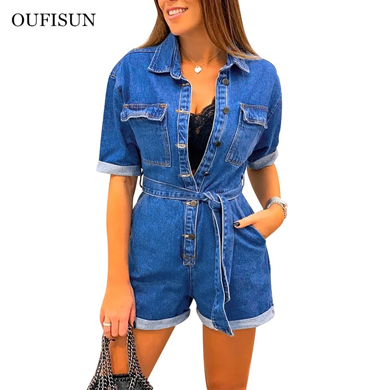 Oufisun Fashion Women Jeans Bodysuit Turn Down Collar Denim Playsuits Cotton Short Jeans Romper Womens Jumpsuit Overall Playsuit