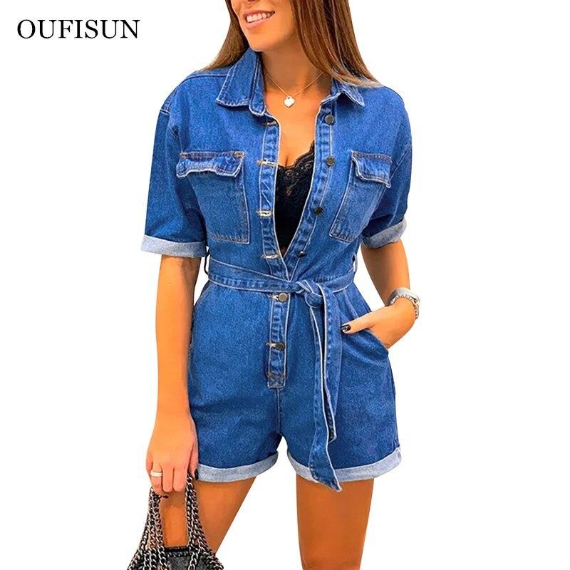 Oufisun Fashion Women Jeans Bodysuit Turn Down Collar Denim Playsuits Cotton Short Jeans Romper Womens Jumpsuit Overall Playsuit