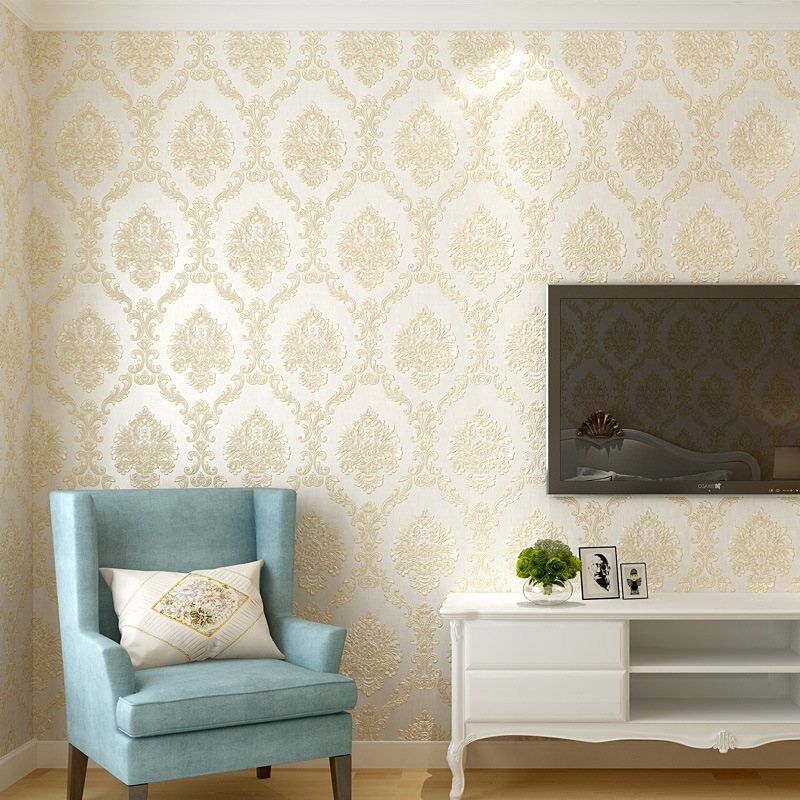 Fine Embossing 3D Thick Three-dimensional Sense Of Strong European Style Damascus Non-woven Wallpaper Living Room Bedroom Stores