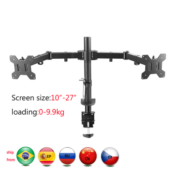 DL-MS02 Desktop Clamping Full Motion 360 Degree Dual Monitor Holder 10-27clamp base Mount Arm Loading 9.9kgs PC stand