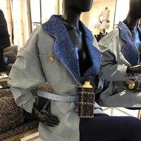 vintage retro loose denim jacket women 2020 high end brand tweed lapel patchwork pocket blue jeans coat chic streetwear outwear