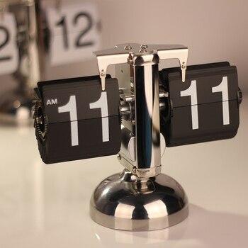 Mecanismo de Despertador plegable, mesa de Metal, negro, personalizado, Vintage, novedad, Reloj de escritorio para niños, Simple Reloj Despertador, Idea de regalo E6
