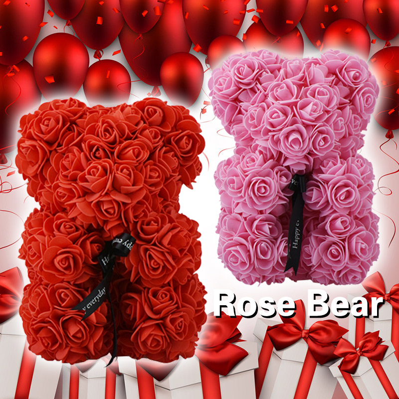 23cm tedd bear of roses red and pink toy bear with bow artificial roses tedy bear for Valentine Christmas gift dropshiping 2018(China)