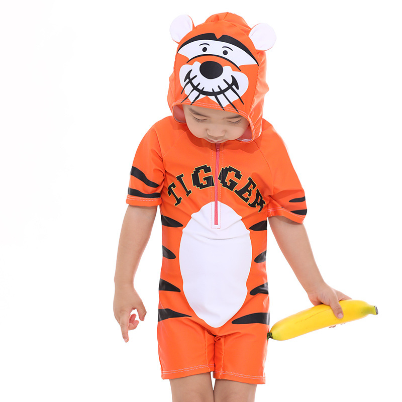 New Style KID'S Swimwear Men And Women Children Cute Cartoon Small Tiger Frog Little Duck Children One-piece Swimming Suit