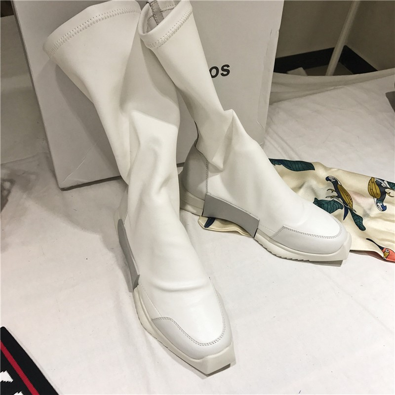 Rua botas brancas mulheres estilo punk plataforma de couro genuíno elástico meia tornozelo botas amantes altura crescente alto topo tênis - 3
