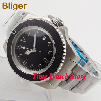Bliger 44mm black sterial dial sapphire glass date luminous Ceramic bezel SEA Automatic men's watch waterproof  159