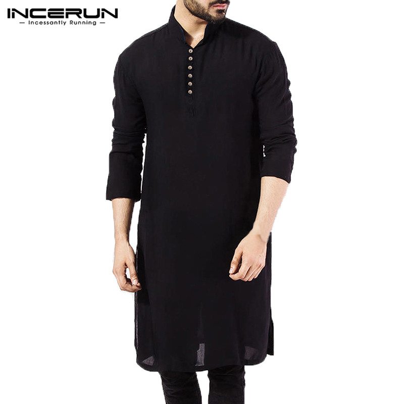 NEW Mens Dress Shirts Long Sleeve Oversized Islamic Clothing Chemise Elegant Tops Masculina Pakistani Indian Man Clothes