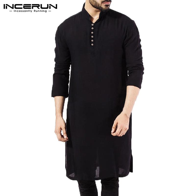 NEW Mens Dress Shirts Long Sleeve Oversized Islamic Clothing Chemise Elegant Tops Masculina Pakistani Indian Man Clothes