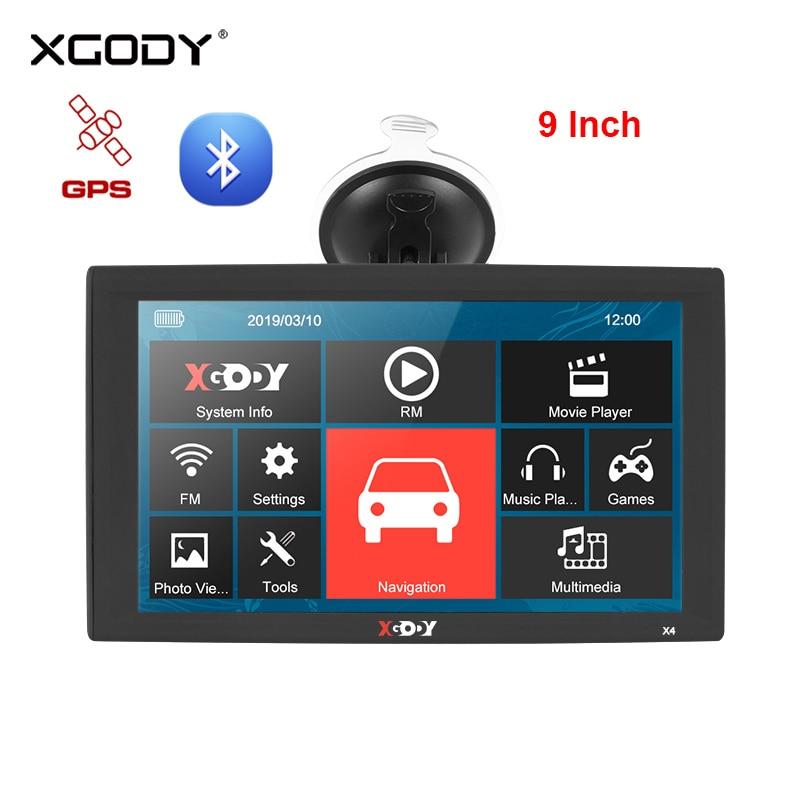 XGODY X4 9 Inch Car GPS Navigation Bluetooth Truck Navigator 256MB 8GB GPS Sat Nav FM Rear View Camera Russia 2020 Europe Map