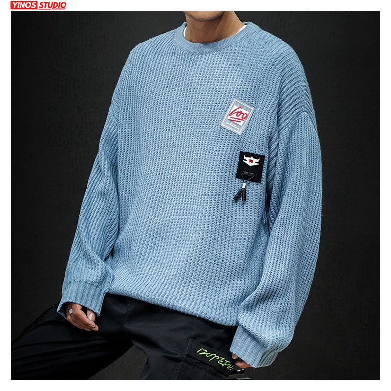 Dropshipping Japanese Streetwear Vintage Solid Pullovers 2019 Autumn Male O-Neck Tops Swearters Oversized Cotton Swearters