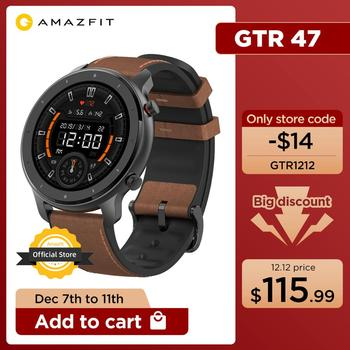 Global Version Amazfit GTR 47mm Smart Watch 5ATM Waterproof Smartwatch 24 Days Battery Music Control Leather Silicon Strap 1