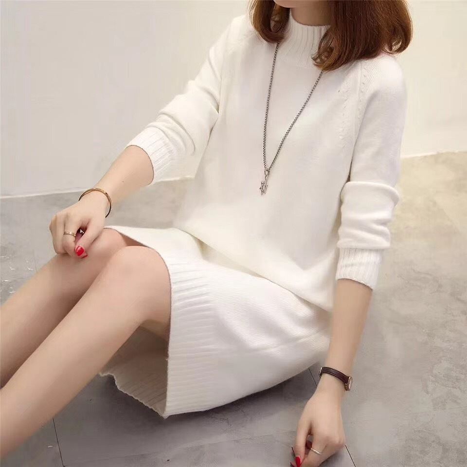Women Solid Loose Midi Straight Winter Dress Warm Long Sleeve Basic Knitted Dress Semi High Collar White Black Elegant Vestidos