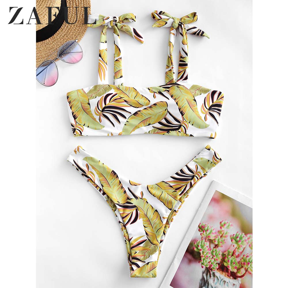 ZAFUL Palm Leaf Tie High Leg Bikini Swimsuit Sexy Swimwear Women High Cut Bathing Suit Tropical Bikini Set
