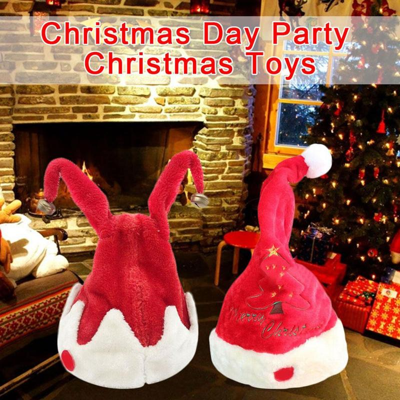 Electric Christmas Hat Toys Children Red Velvet Double Ring Music Swing Electric Hats Holiday  Party Gifts Toy