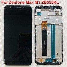 Tela lcd 5.5 , para asus zenfone max m1 zb555kl, painel de reposição, touch screen, sensor de vidro, digitalizador, peças de montagem + armação de moldura