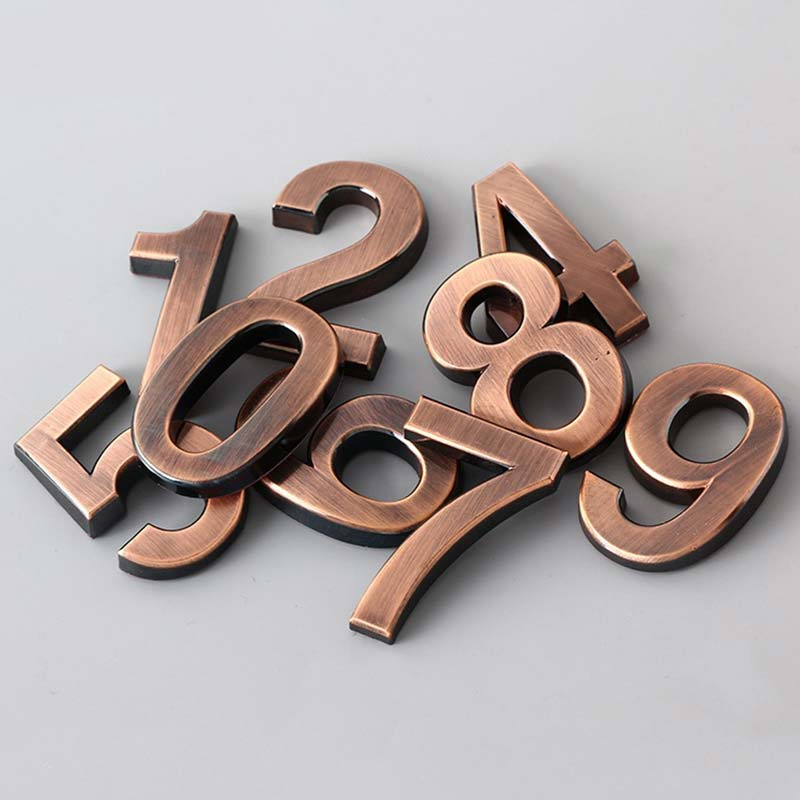 Fashion 4 Colors Number Modern Plaque Number House Hotel Door Address Digits Sticker Plate Sign 0-9(China)