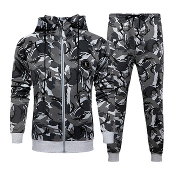 Camo Men Tracksuit Hooded Outerwear Hoodie Set Mens Autumn Winter 2 Pieces Hooded Jacket+Pants Male Casual Tracksuits Sportswear men camo print hooded jacket