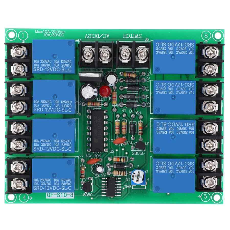 Adjutable 8 Channels Power Time Sequence Board 10A 0.2-4S Audio KTV Stage