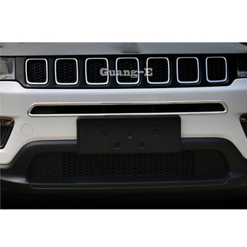 For Jeep Compass 2017 2018 2019 2020 Car ABS Chrome License Plat Racing Grid Grill Grille Hoods Panel Frame Moulding Bumper 1pcs