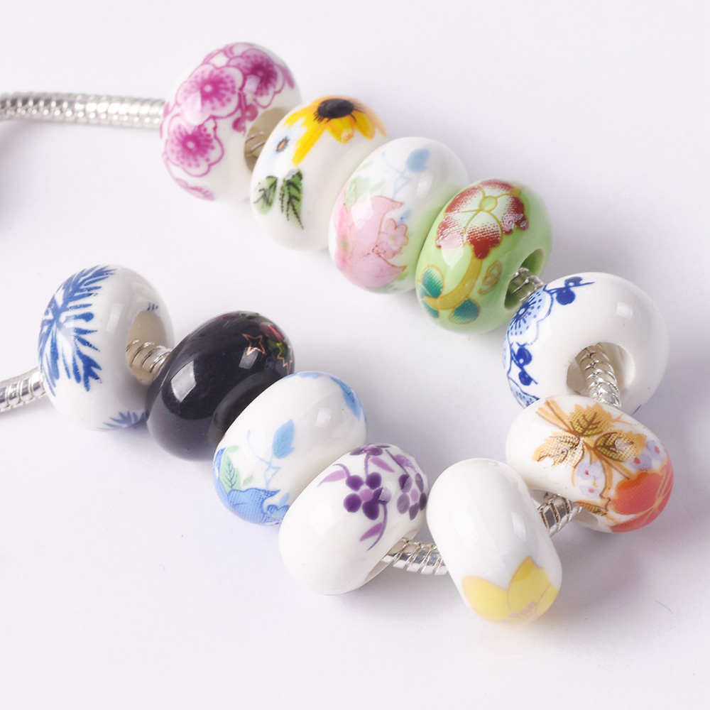 10pcs Charm Ceramic Round Oval Square Loose Porcelain Beads DIY Jewelry Making