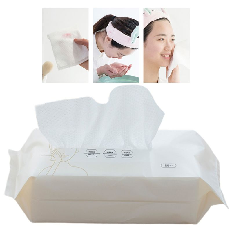 80pcs/pack Disposable Cotton Face Tissue Towel Wipes Makeup Remover Facial Cleansing Washcloth Pearl Home Travel Wet Dry