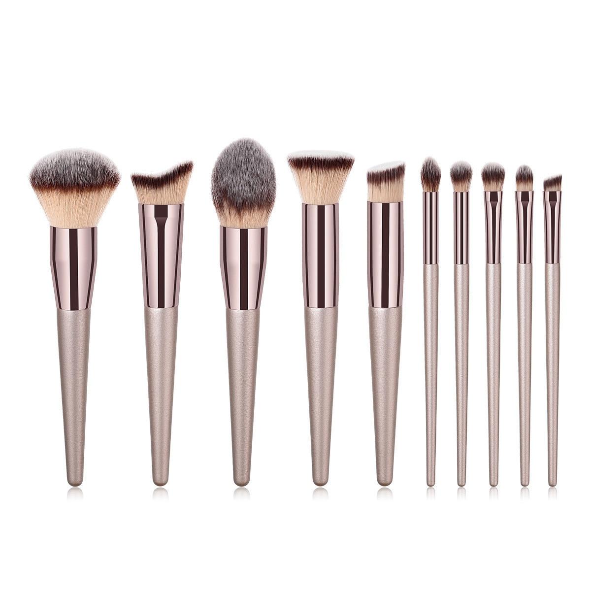 Champagne Makeup Brushes Set Foundation Powder Blush Eyeshadow Concealer Lip Eye Make Up Brush Cosmetics Beauty Tools