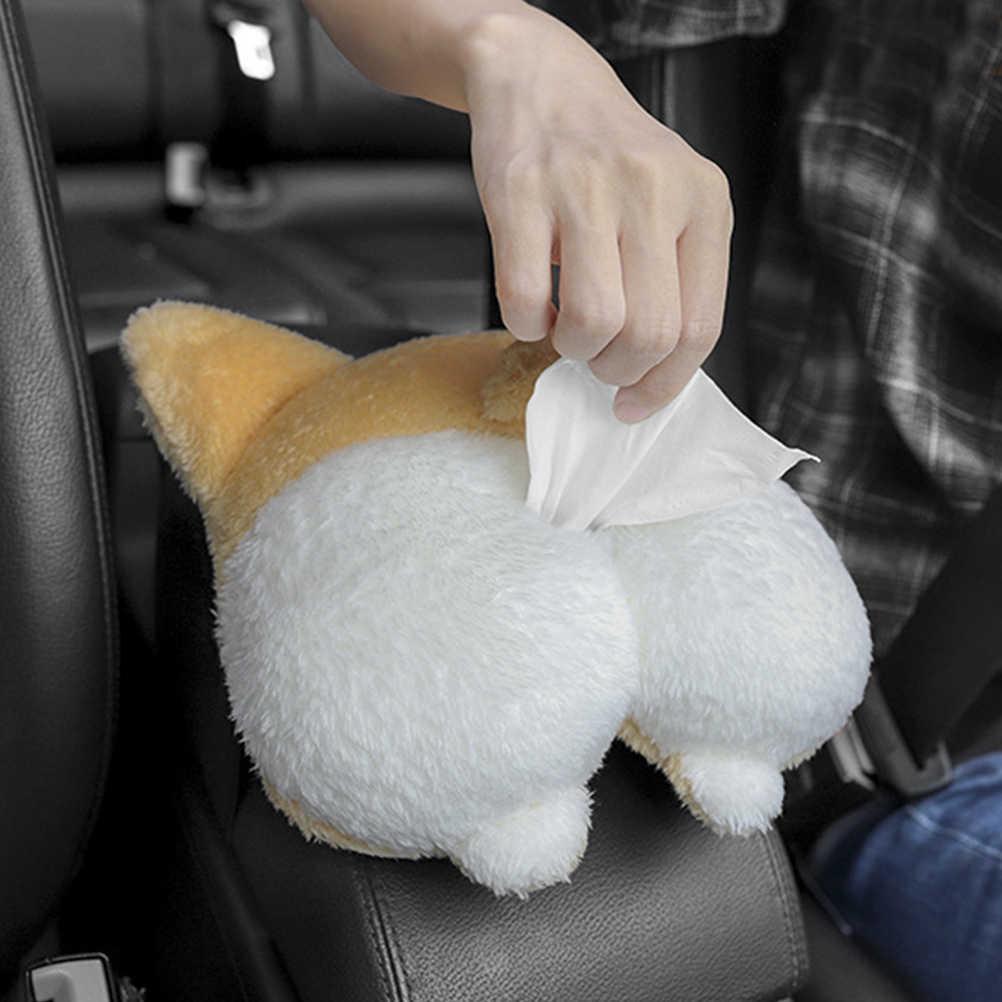 1 unidad de doble caja de pañuelos de papel usado soporte lindo perro gato en forma de trasero caja de pañuelos suave y adorable contenedor de papel para servilletas
